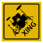 Drum Crossing Highway Sign Poster