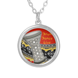 Drum Dance Live (Red) Silver Plated Necklace