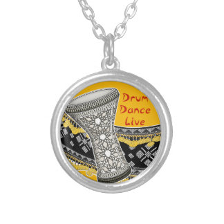 Drum Dance Live (Yellow) Silver Plated Necklace