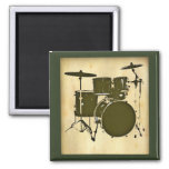 drum / drums 2 inch square magnet