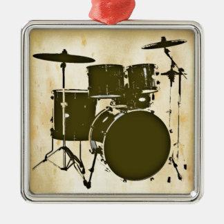 drum / drums square metal christmas ornament