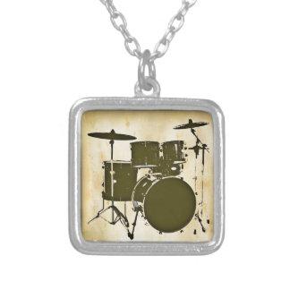 drum / drums square pendant necklace