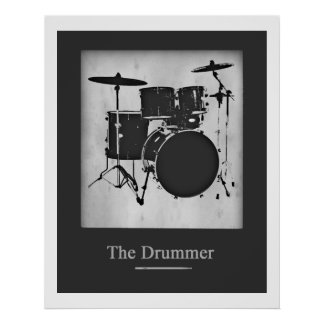 Drum for walls black and white poster