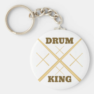 Drum King Basic Round Button Keychain