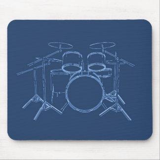 Drum Kit: Blueprint Drawing: Mouse Pad