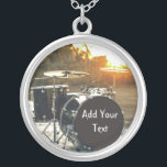 """Drum Kit Drummer Rock  Personalize Customize Silver Plated Necklace<br><div class=""""desc"""">Black drum Kit in the sunlight  Perfect for the drummer who loves a little rock and roll in their life  This is perfect to personalize and customize with your band name,  lyrics,  date,  name,  or anything else your little heart desires... the possibilities are endless!</div>"""