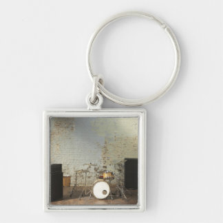 Drum Kit Silver-Colored Square Keychain