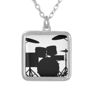 Drum Kit Silver Plated Necklace