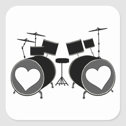 Drum Love Square Sticker