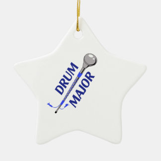DRUM MAJOR Double-Sided STAR CERAMIC CHRISTMAS ORNAMENT