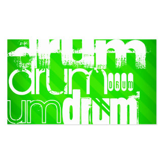 Drum; Neon Green Stripes Business Card