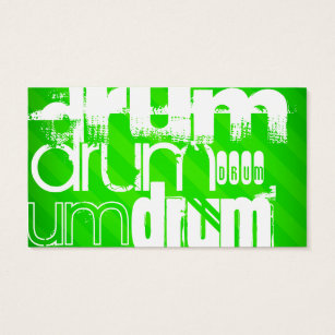 Drum Neon Green Stripes Business Card