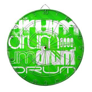 Drum; Neon Green Stripes Dartboard With Darts