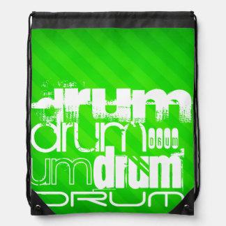 Drum; Neon Green Stripes Drawstring Backpack