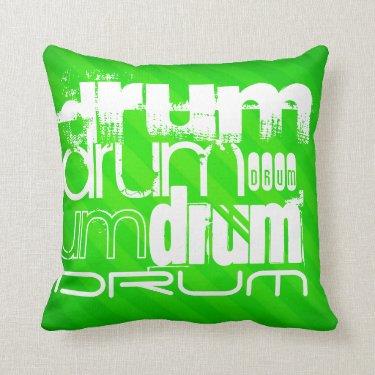 Drum; Neon Green Stripes Pillows