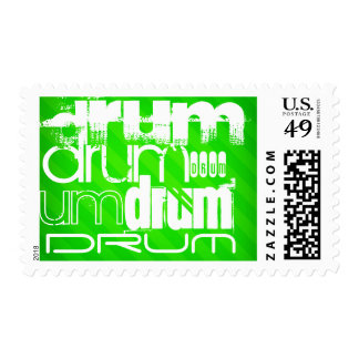 Drum; Neon Green Stripes Postage Stamps