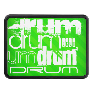 Drum; Neon Green Stripes Tow Hitch Cover