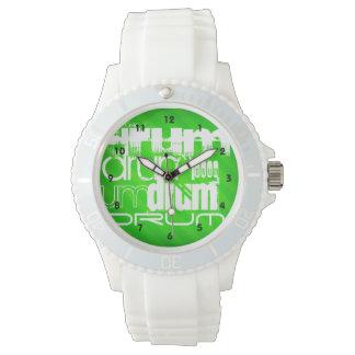 Drum; Neon Green Stripes Wristwatch