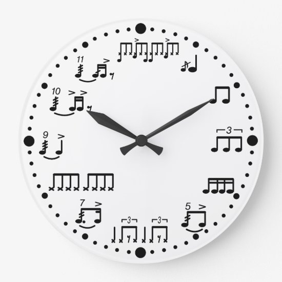 Drum Notes and Rudiments Music Clock for Drummers