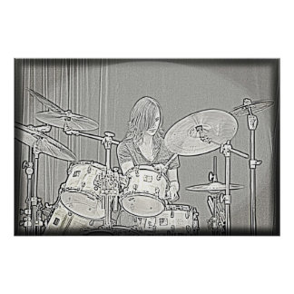 Drum or Drummer Girl Poster
