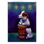 Drum playing dog fun original bongo drumming art card