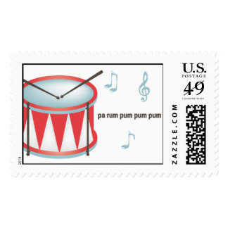 Drum - Red Postage Stamp