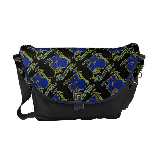 drum rocker pattern courier bag