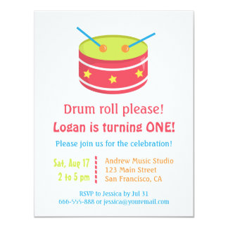 Drum Roll Boy First Birthday Party Invitations