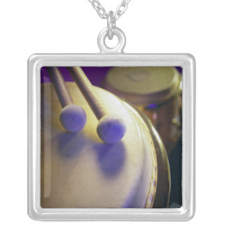 Drum & Round Tip Drum Sticks Square Pendant Necklace