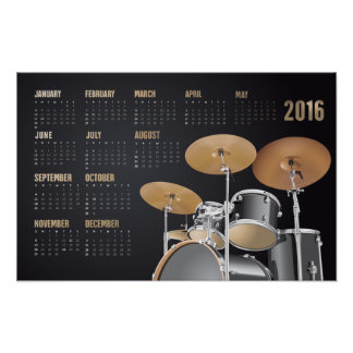 Drum Set 2016 Calendar Poster