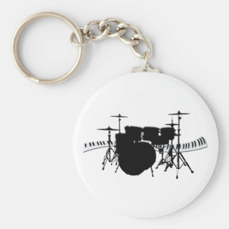 Drum Set and Piano Keyboard Basic Round Button Keychain