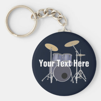 Drum Set Basic Round Button Keychain