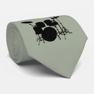 Drum Set Black Silhouette Necktie