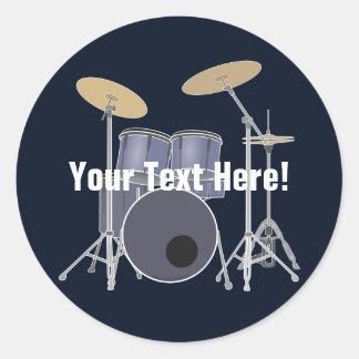Drum Set Classic Round Sticker
