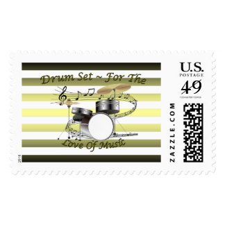 Drum Set ~ For The Love Of Music ~ Musical Stripes Postage