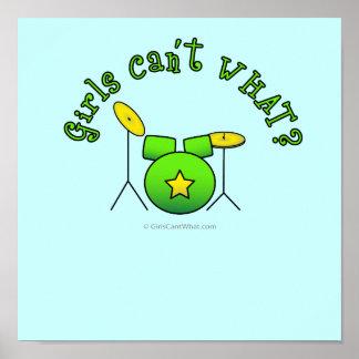 Drum Set - Green Poster