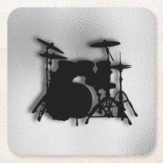 Drum Set Music Design Square Paper Coaster