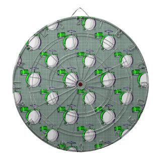 Drum Set; Neon Green Drums Dartboard With Darts