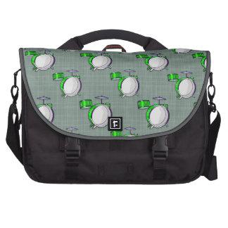 Drum Set Neon Green Drums Commuter Bags
