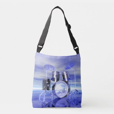 Beach Themed Drum Set on the Beach Music Tote Bag