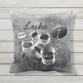 Drum Set / Personalized Gift for Drummers Outdoor Pillow