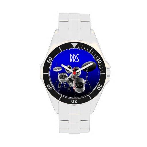 Drum Set Personalized Monogram Gift Watch Wristwatch