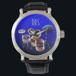 "Drum Set Personalized Monogram Gift Watch<br><div class=""desc"">For you to personalize/customize with recepient&#39;s initials/name,  choose ideal font,  font color or delete it if not needed.  Available in many different styles &amp; colors.</div>"