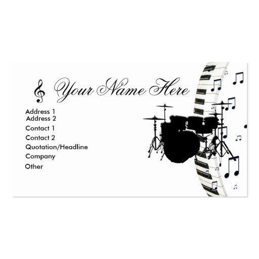 Drum Set Piano Keyboard and Music Notes Business Card Template
