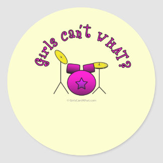 Drum Set - Pink Classic Round Sticker