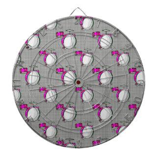 Drum Set; Pink Drums Dartboard With Darts