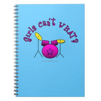 Drum Set - Pink Spiral Notebook