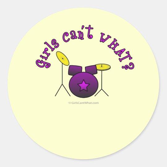 Drum Set - Purple Classic Round Sticker