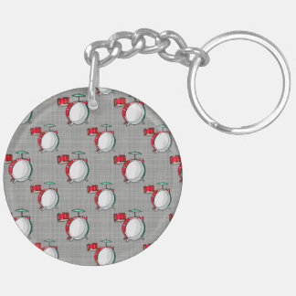 Drum Set; Red Drums Double-Sided Round Acrylic Keychain