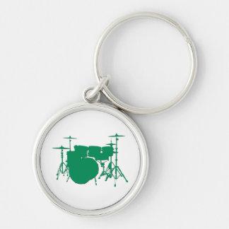 Drum Set Silver-Colored Round Keychain